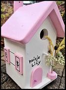 Vogelhuisje,nestkastje hout_Pastel Roze 5_wit_dak roze_deur roze_naambord