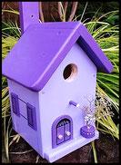 Vogelhuisje,nestkastje hout_Lavendel tinten 8_lavendelblauw_dak lavendel donker