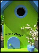 Vogelhuisje,nestkastje hout_nestkastje Appelgroen Villa Mats_lichtblauw dak