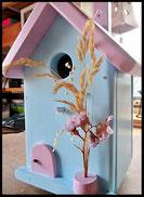 Vogelhuisje,nestkastje hout_nestkastje Lichtblauw zacht_dak en deur zacht roze