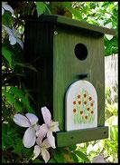 Vogelhuisje,nestkastje hout_nestkastje Woudgroen 1_ plat dak_wit deurtje
