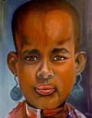 KARO-MÄDCHEN aus Äthiopien Acryl / Lwd. 70 x 90 cm