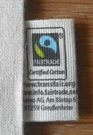 fair trade zertifizierter Zuziehbeutel, aus 100% Baumwolle