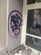 Graffiti auf mit Hydropur Silan geschützter Fassade