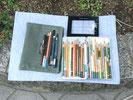 色鉛筆ケース・透明スケール・道具入れの緑の袋