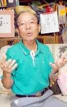サイパン島での戦時体験を語る下野富雄さん=5日午後、石垣市大浜の自宅