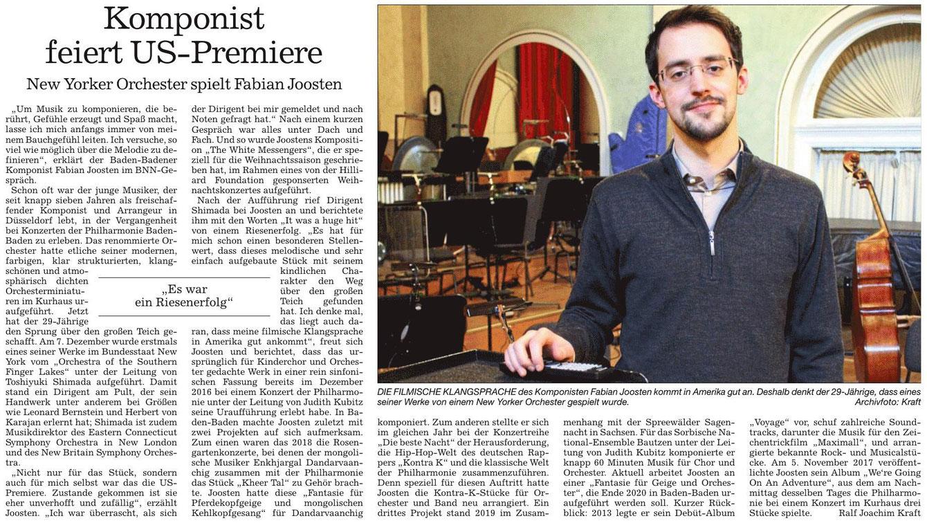 Badische Neueste Nachrichten, Ausgabe vom 14.12., Kultur Regional (Ralf Joachim Kraft)