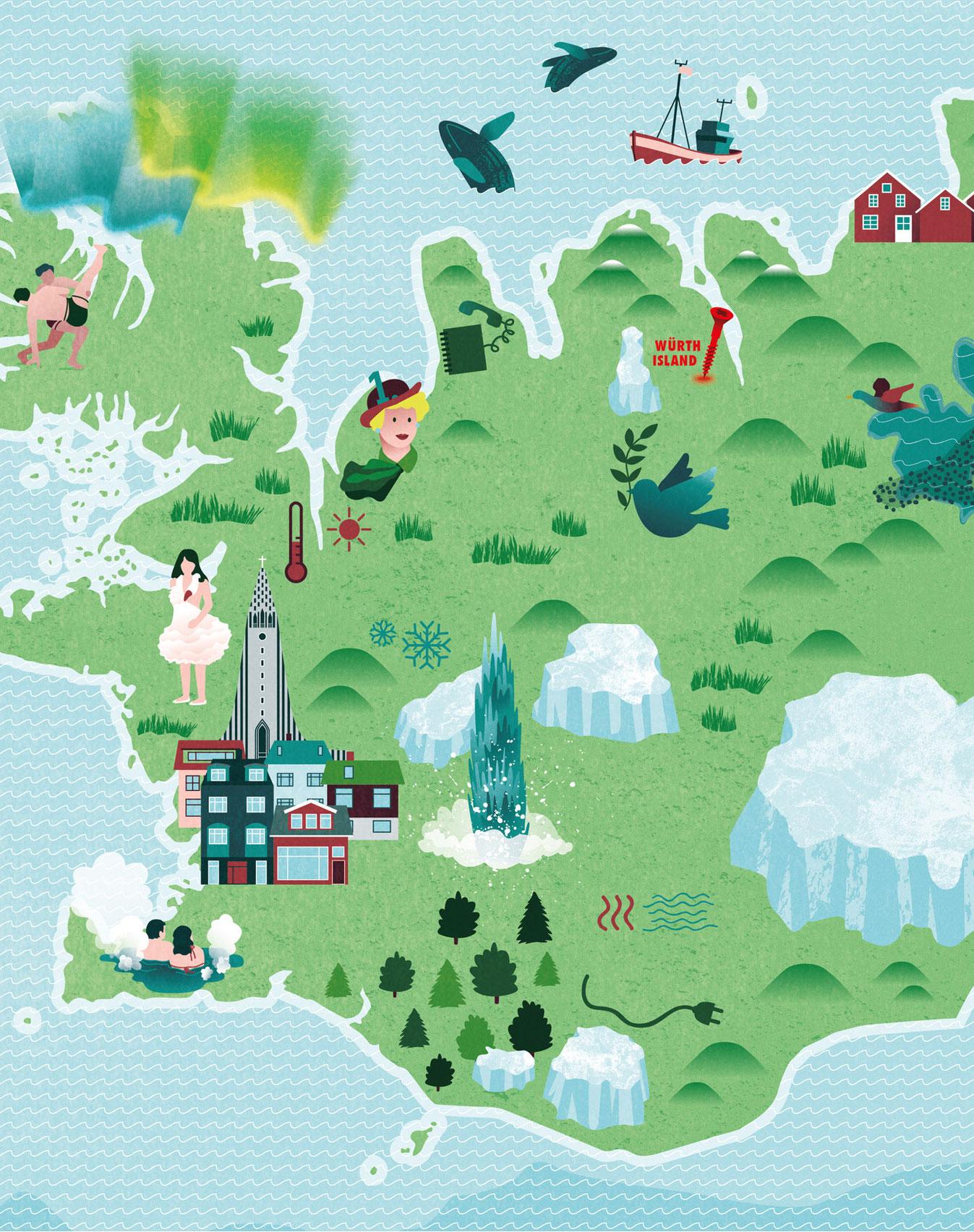 Detailansicht der illustrierten Karte von Island ohne den Text, nur Vektorillustration. Marina Schilling.