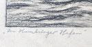 Carl Nonn Im Hamburger Hafen Kohle auf Papier signiert