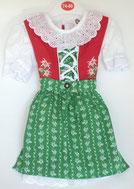 Kinder Trachtenkleid Rot-Hellgrün