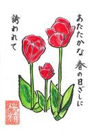 チューリップ 絵手紙 4月 春