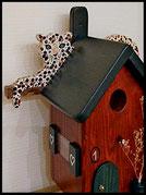 Vogelhuisje,nestkastje hout_nestkastje Luipaard,bruin nestkastje