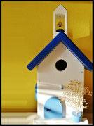 Houten nestkastjes - Griekse stijl met klokkentoren