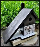 Houten nestkastjes - jap. stijl, Geluk, liefde, zwart met wit