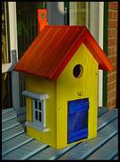 Vogelhuisje,nestkastje hout_nestkastje Speciaal,geel nestkastje