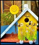 Houten nestkastjes - Bijen, zomer, vlinders, Pindakaas pot houder