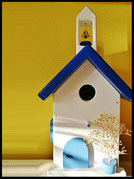 Vogelhuisje,nestkastje hout_nestkastje Klokkentoren,wit nestkastje