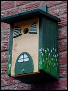 Vogelhuisje,nestkastje hout_nestkastje Plat dak,woudgroen nestkastje
