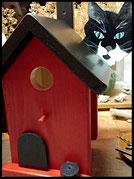 Vogelhuisje,nestkastje hout_nestkastje Kat zwart,bruin nestkastje