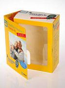 Verkaufsverpackung mit Werbeklappe und Sichtfenster