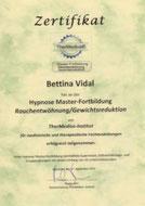 Zertifikat Hypnose Master-Fortbildung Rauchentwöhnung und Gewichtsreduktion