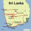 Karte mit meiner Rundreise durch Sri Lanka