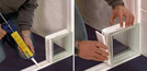 """Seves QuickTech 25. Ein Montageset für einfache, schnelle Montage von runden Glasbausteinwänden mit PVC- QuickTech-Profile und Kleber.  QuickTech Kit 25 für Glasbausteine Kollektion """"Basic + Classic + Vintage"""" für gerade  Wände. Fuge 5 mm.  Kit 25"""