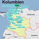 Karte mit den Sehenswürdigkeiten und Highlights in Kolumbien