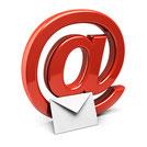 Graphik eines roten @ und eines Briefes (Email)