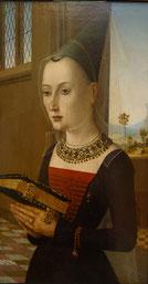 Maestro dei Ritratti Baroncelli, ca. 1489, Pierantonio Bandini and his wife Maria Bonciani, Galleria degli Uffizi, Firenze. picture by Nina Möller - Medieval fashion dress hat