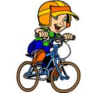 dessin d'un enfant qui fait du vél
