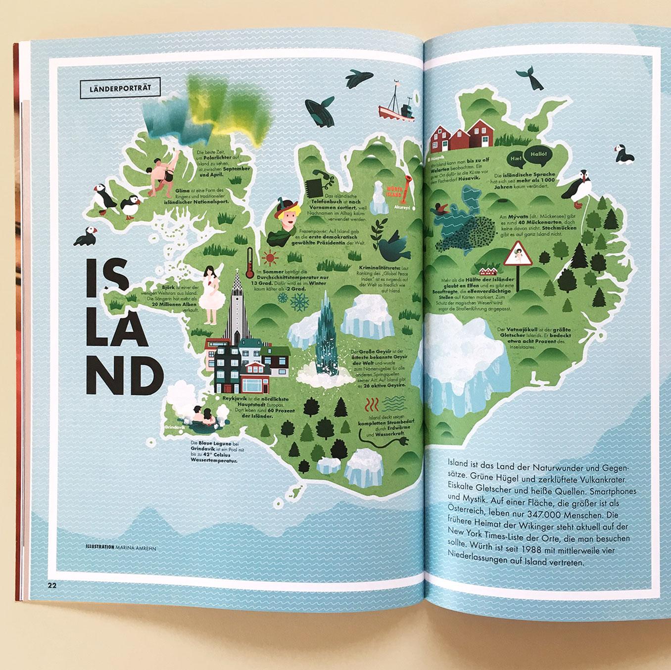 Illustrierte Island Karte im Magazin, Editorial Design, auf Doppelseite. Marina Schilling.