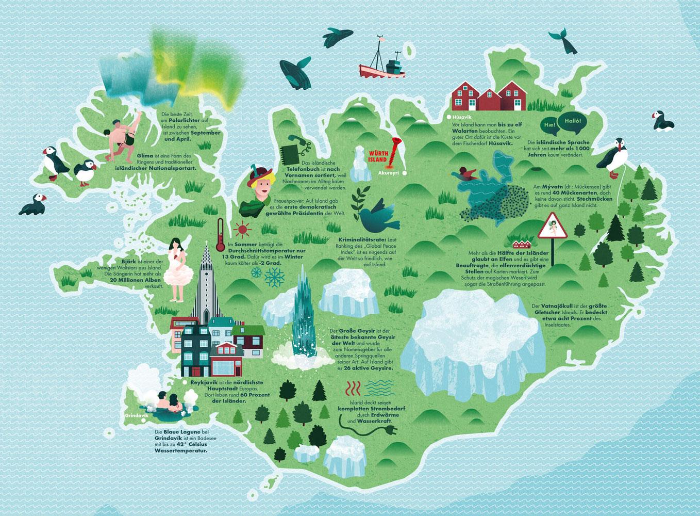 Illustrierte Karte von Island für Magazin mit Sehenswürdigkeiten. Marina Schilling.