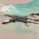 Monika Humm, abstrakte Acrylmalerei auf Rohleinen, organische Strukturen, Mint, Weiss, Braun