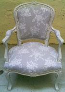fauteuil cabriolet Louis XV rénové par l'atelier de Sylvie
