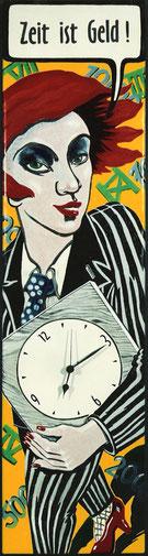 Emaille-Uhr - Zeit ist Geld! Heike Lichtenberg, emaillieren, emaille, emaille kunst,  in Halle Saale