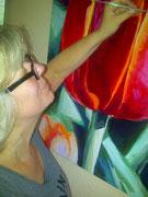 """Arbeit an """" Tulipes Rouges"""", 90 x 90 cm,  Acryl auf Leinwand"""