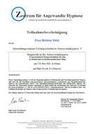 Zertifikat einer Fortbildung zu Hypnosetechniken