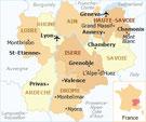 ローヌ・アルプ地方の地図