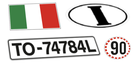 registration plates countries flags italy gb france spain germany england gran bretain rally cars historical stickers decals