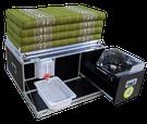 iQ-Campingbox mit faltbaren Windschutz, Kocher, 10 Liter Wasserkanister, Wasserauffangschale, Auslaufhahn und 110 cm Kapok Matratze alternativ Schaumstoff Matratze