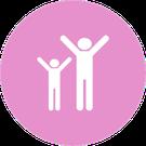 Icono circular rosa con la imagen de 2 personas con los brazos abiertos