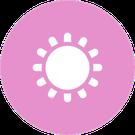 Icono circular rosa con la imagen de un sol