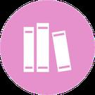 Icono circular rosa con la imagen de 3 libros