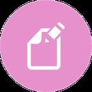 Icono circular rosa con la imagen de un cuaderno y su lápiz