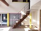 ストリップ階段にシンプルなアイアン手すり