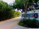 STRASSENSZENE IN TULSAYAB – Privatvillen an der einen Straßenseite, Mangrovendschungel an der anderen.