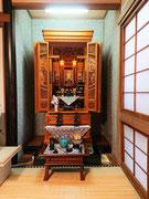 従来型仏壇欅三方練り22号台付