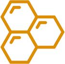 3 Hexagons im Logo von Heilbronner Gartenhonig.