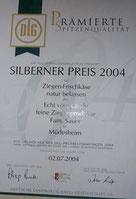 DLG Silberner Preis 2004 für Ziegenfrischkäse natur belassen